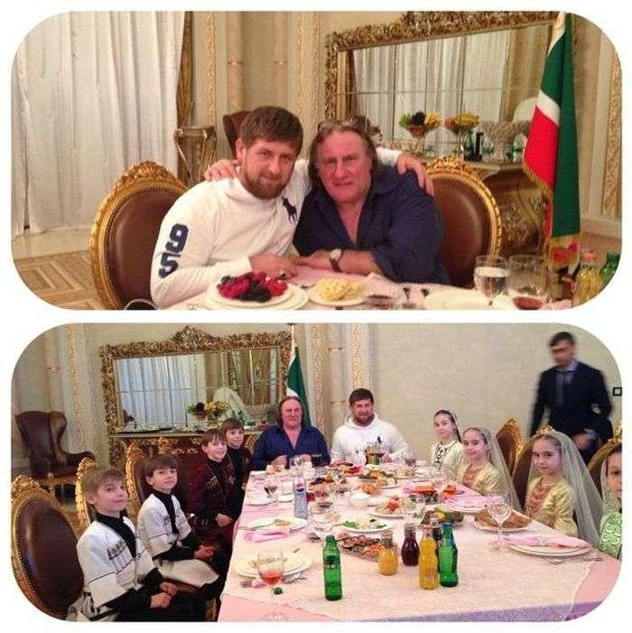 Жерар Депардьє побував в гостях у Кадирова і станцював лезгинку (7 фото + відео)
