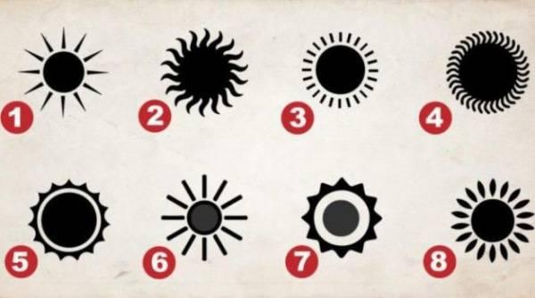 Выберите солнце, и оно покажет вам тайную часть вашей личности интересное