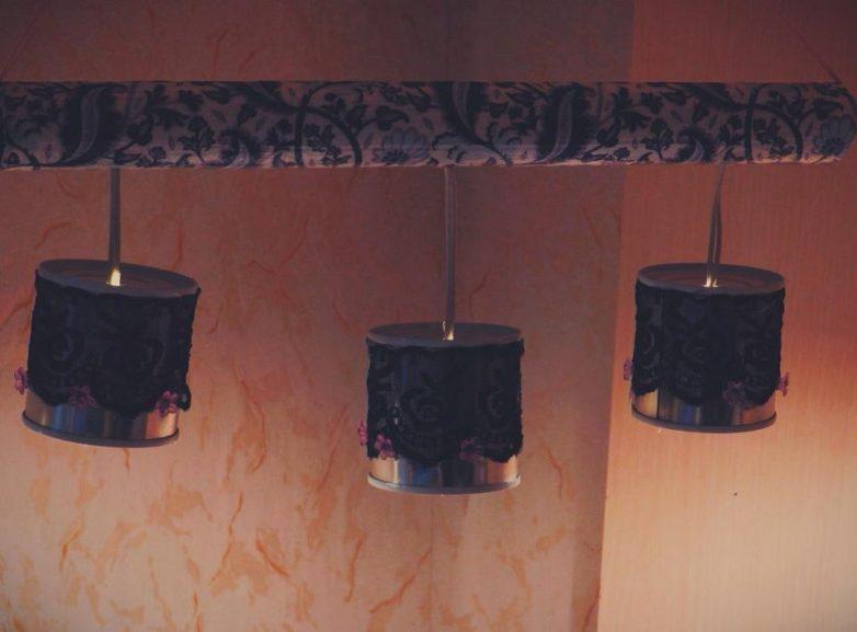 Красивый светильник из металлических баночек креатив