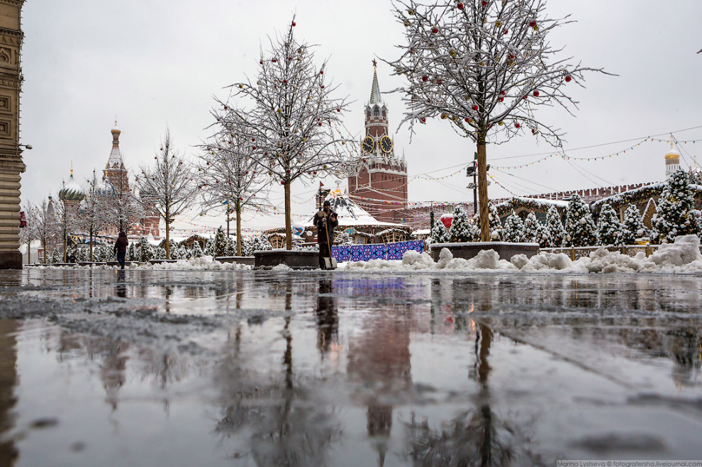 Прогулка по Москве после снегопада пейзажи